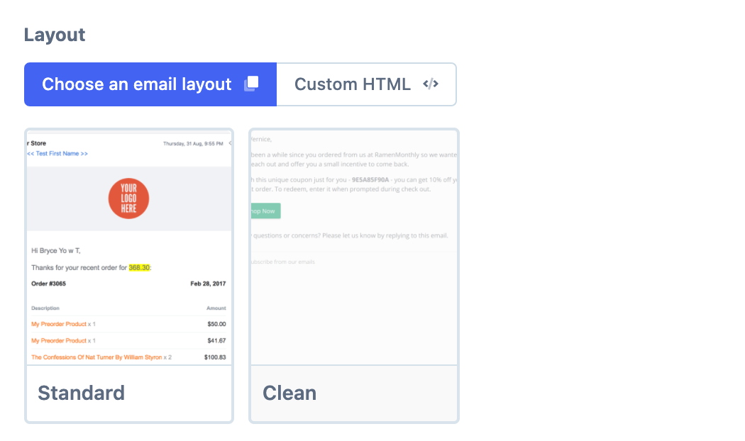 Email Layouts