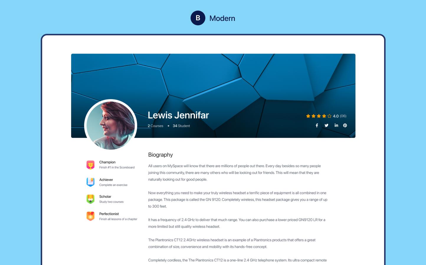 Modern Instructor Profile